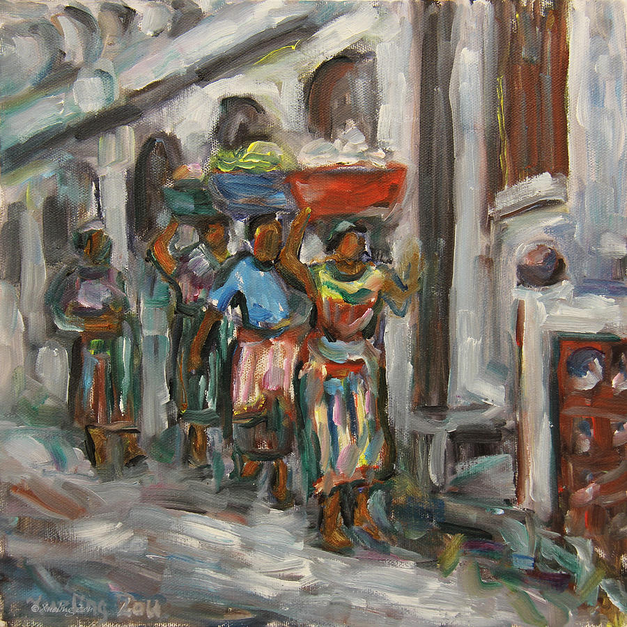 Mayan Painting - Guatemala Impression V - Left Hand 1 by Xueling Zou