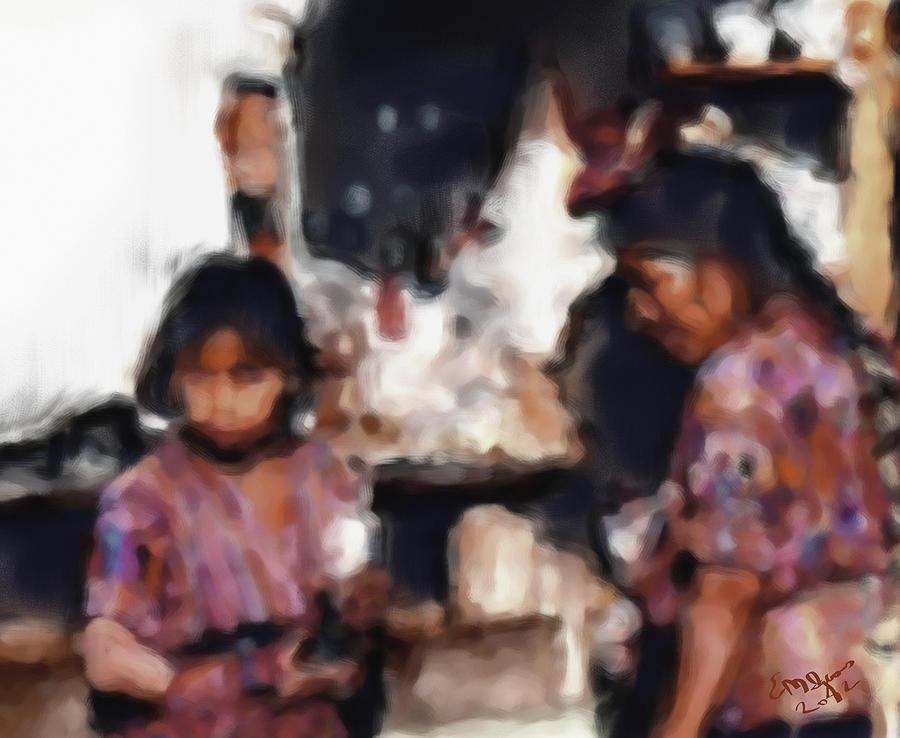 Guatemala Shopping Painting by Elizabeth Iglesias