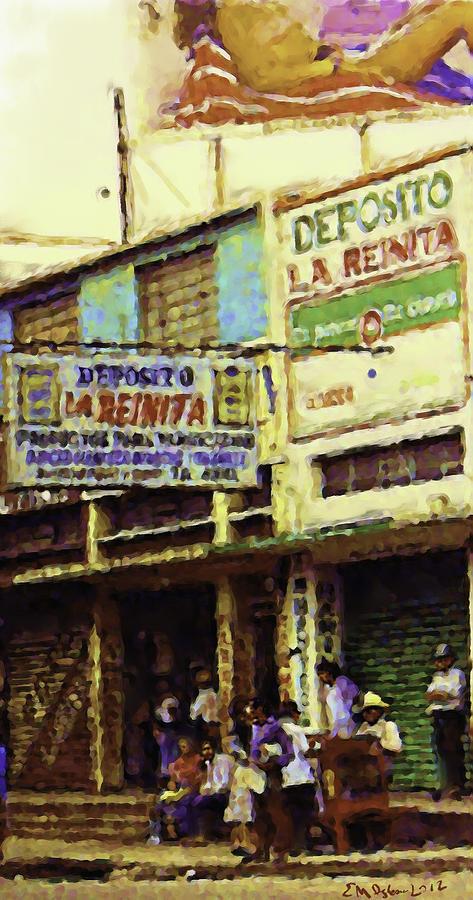 Guatemalan Street Billboard Painting by Elizabeth Iglesias