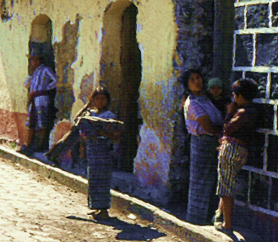 Guatemalan Street Family Painting by Elizabeth Iglesias