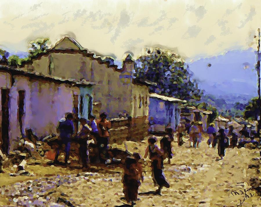 Guatemalan Street Life Painting by Elizabeth Iglesias