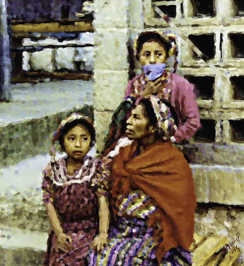 Guatemalan Two Girls With Grandmother Painting by Elizabeth Iglesias