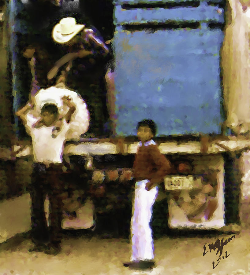 Guatemalan Boy And Truck Painting by Elizabeth Iglesias