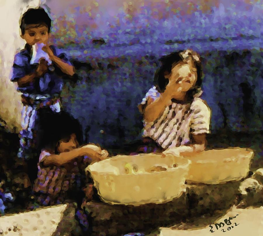 Guatemalan Children Painting by Elizabeth Iglesias