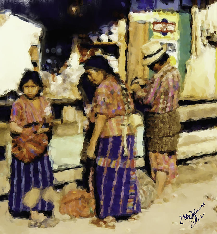 Guatemalan Family Shopping Painting by Elizabeth Iglesias