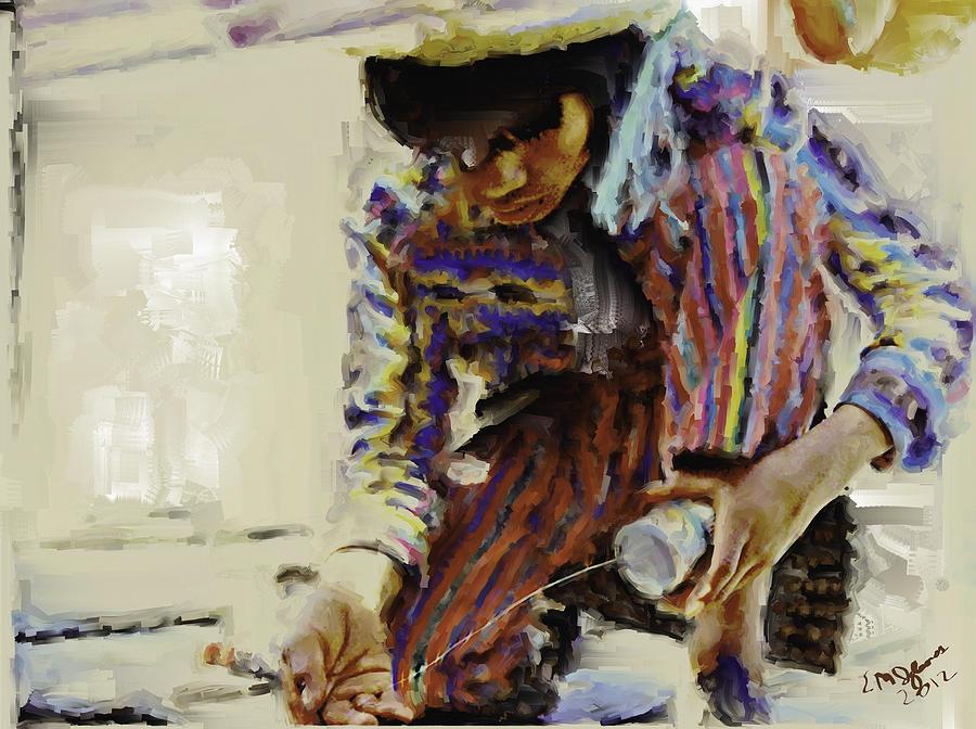 Guatemalan Fisher Boy Painting by Elizabeth Iglesias