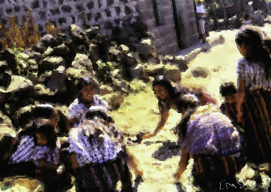 Guatemalan Girls Playing Painting by Elizabeth Iglesias
