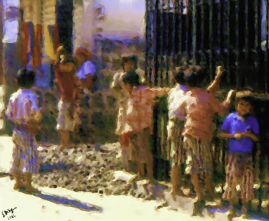 Guatemalan Line Of Boys Painting by Elizabeth Iglesias