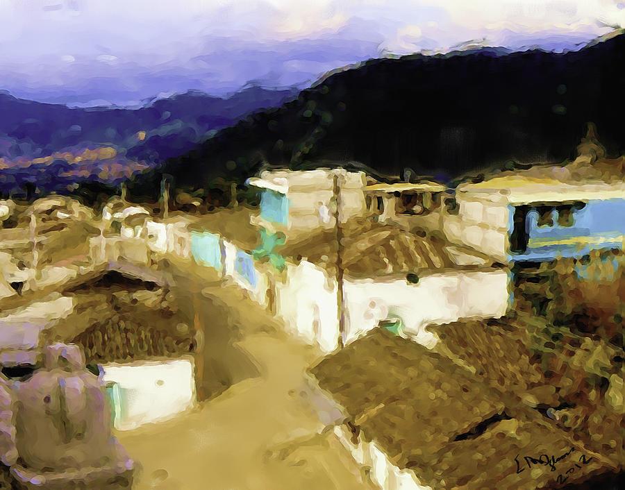 Guatemalan Roof Top Painting by Elizabeth Iglesias