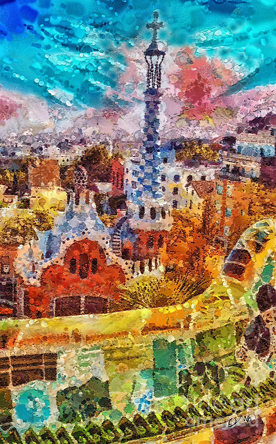 Guell Park Painting - Guell Park by Mo T