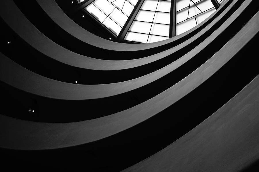 Black And White Photograph - Guggenheim Inside 2 by Becky Kozlen