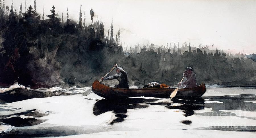 Guide Painting - Guides Shooting Rapids by Winslow Homer