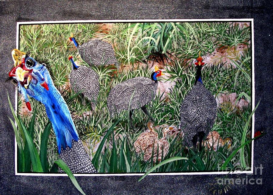 Painting Painting - Guinea Fowl In Guinea Grass by Sylvie Heasman