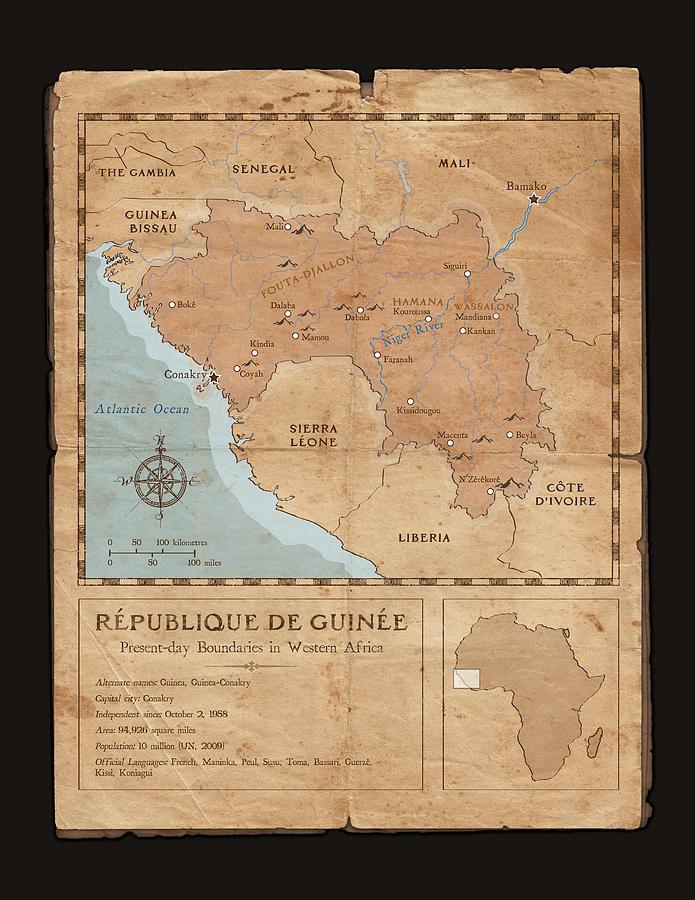 Old Map Digital Art - Guinee Map by Dave Kobrenski