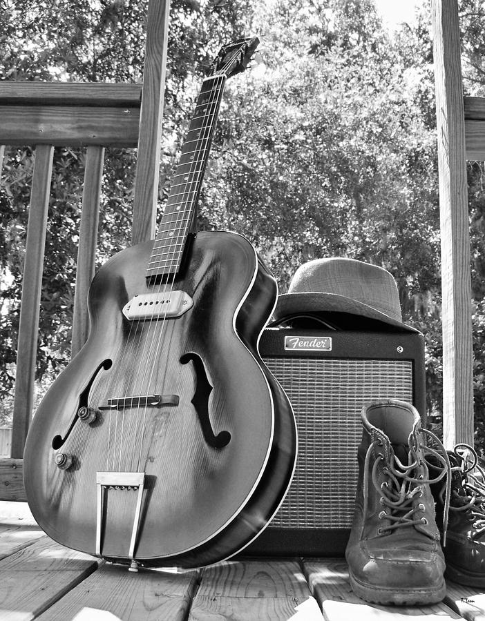 Black And White Photograph - guitar and Boots by Thomas Leon