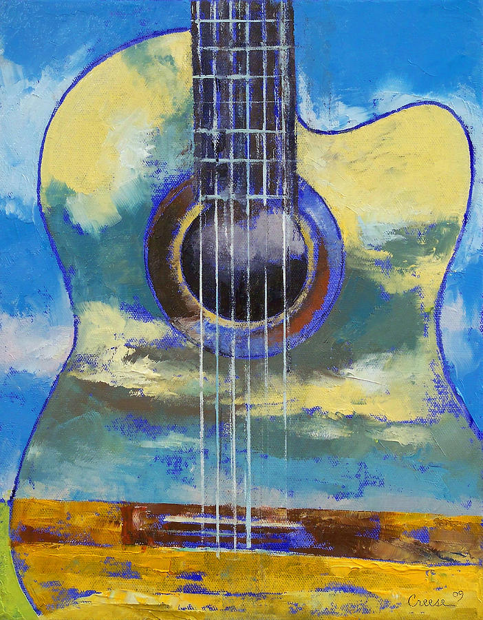 Guitar Painting - Guitar and Clouds by Michael Creese