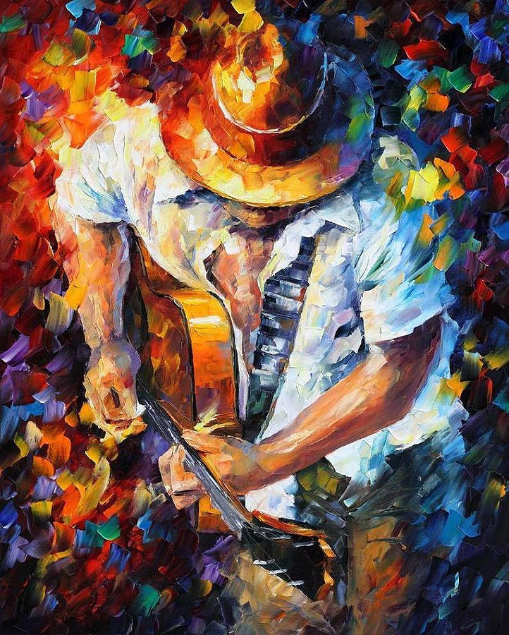 LOVELY GUITAR AND VIOLIN — PALETTE KNIFE Oil Painting On