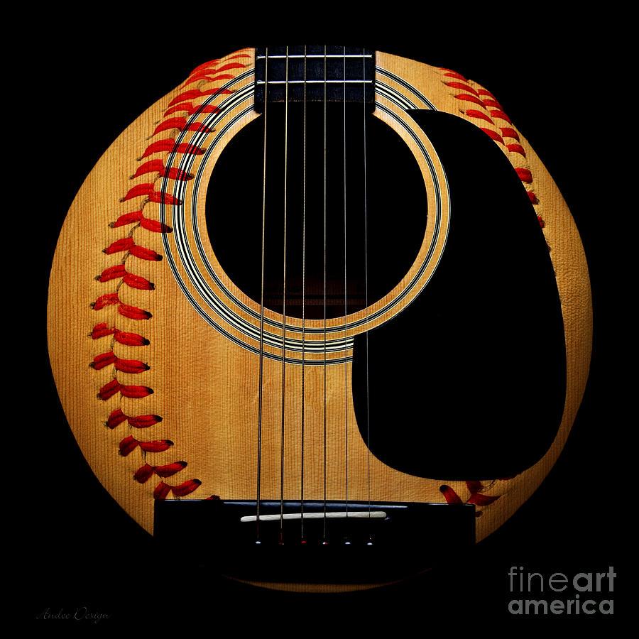 Baseball Photograph - Guitar Baseball Square by Andee Design