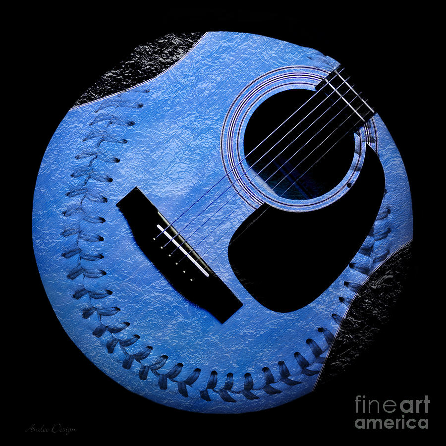 Baseball Digital Art - Guitar Blueberry Baseball Square by Andee Design