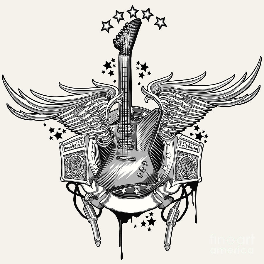 Symbol Digital Art - Guitar Emblem by Alex bond