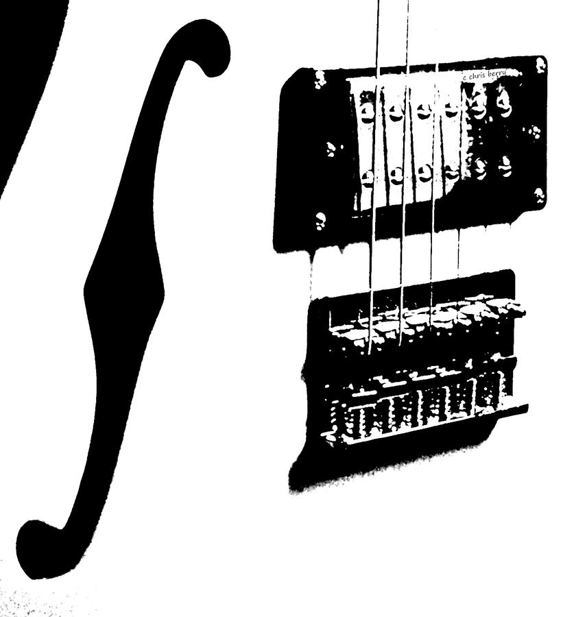 Music Photograph - Guitar Graphic In Black And White  by Chris Berry