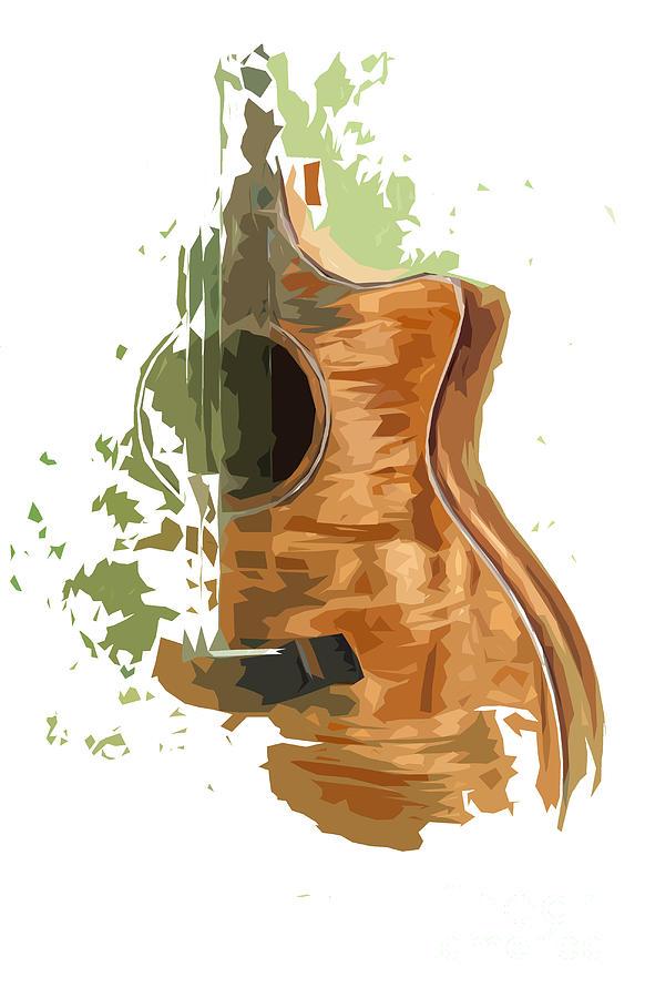 Blue Guitar Digital Art - Guitar Green Background 4 by Drawspots Illustrations