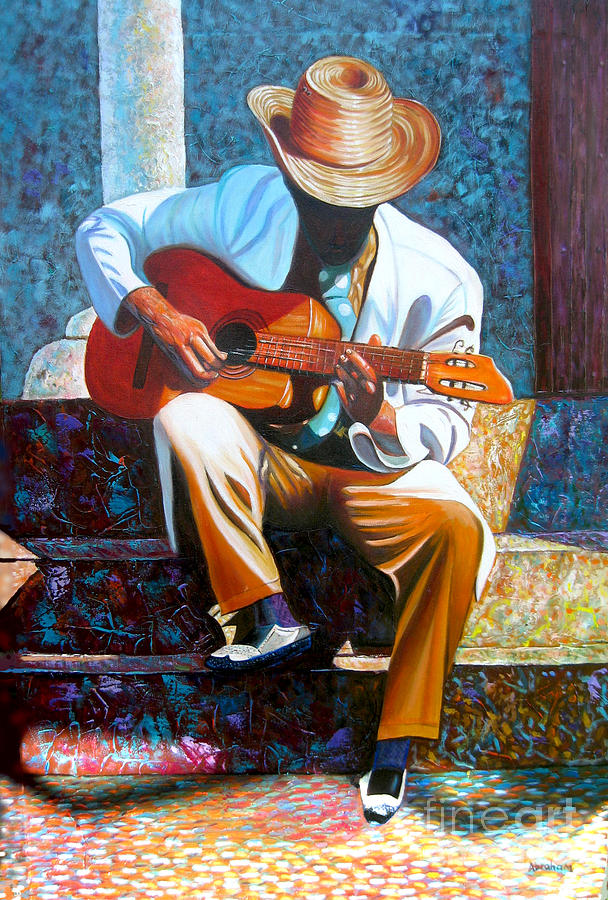 Men Painting - Guitar by Jose Manuel Abraham