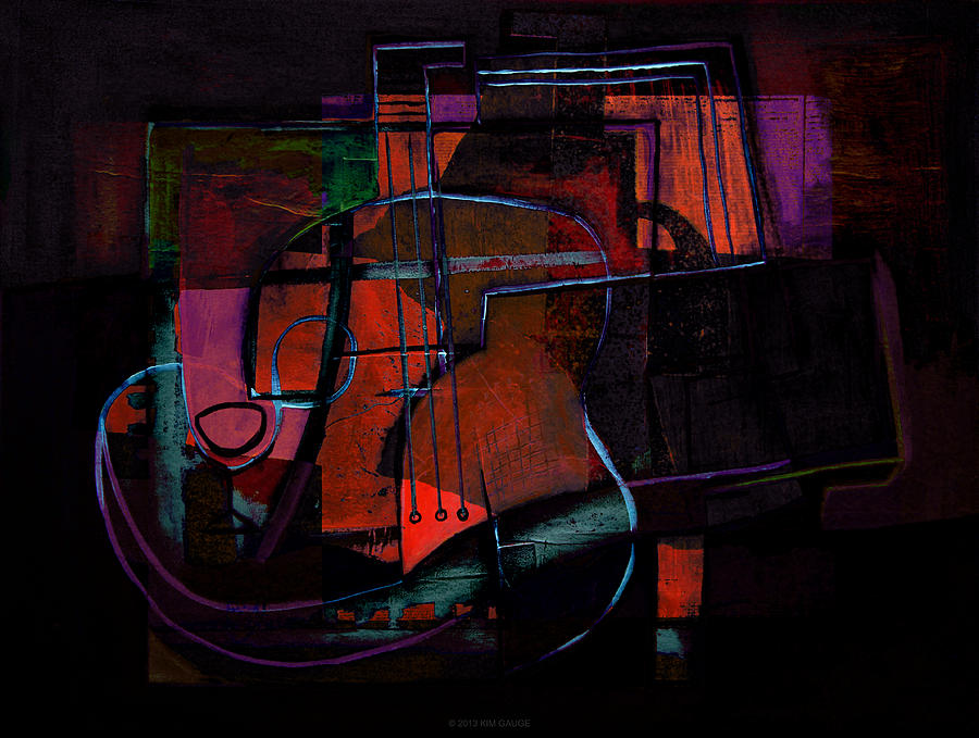 Inspired Painting - Guitar On Table by Kim Gauge