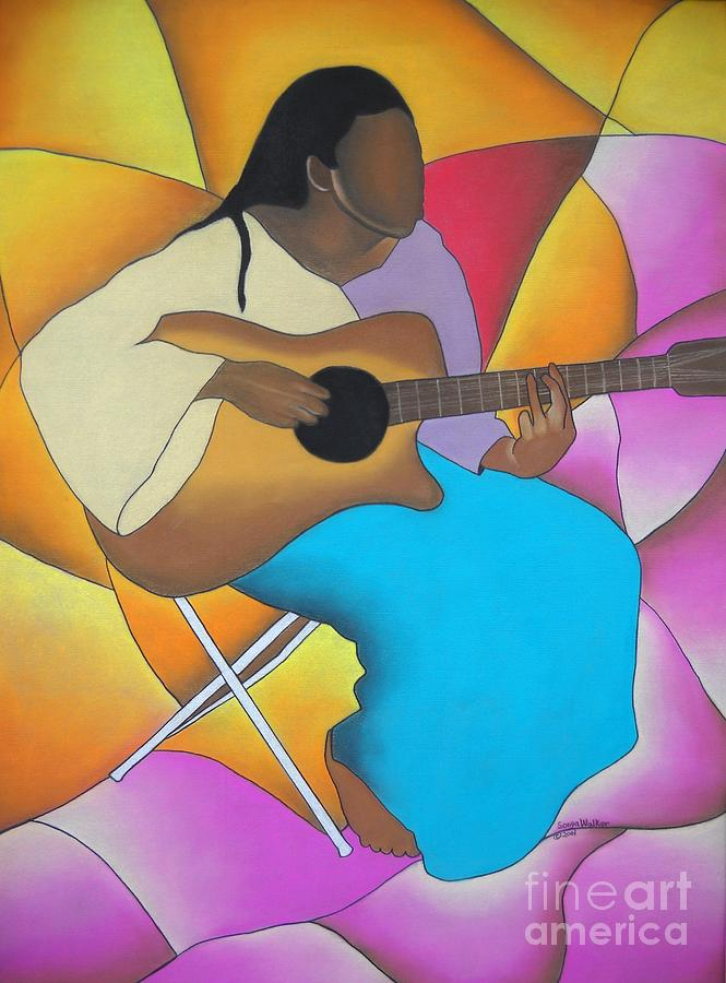 Pastel Drawing - Guitar Player by Sonya Walker