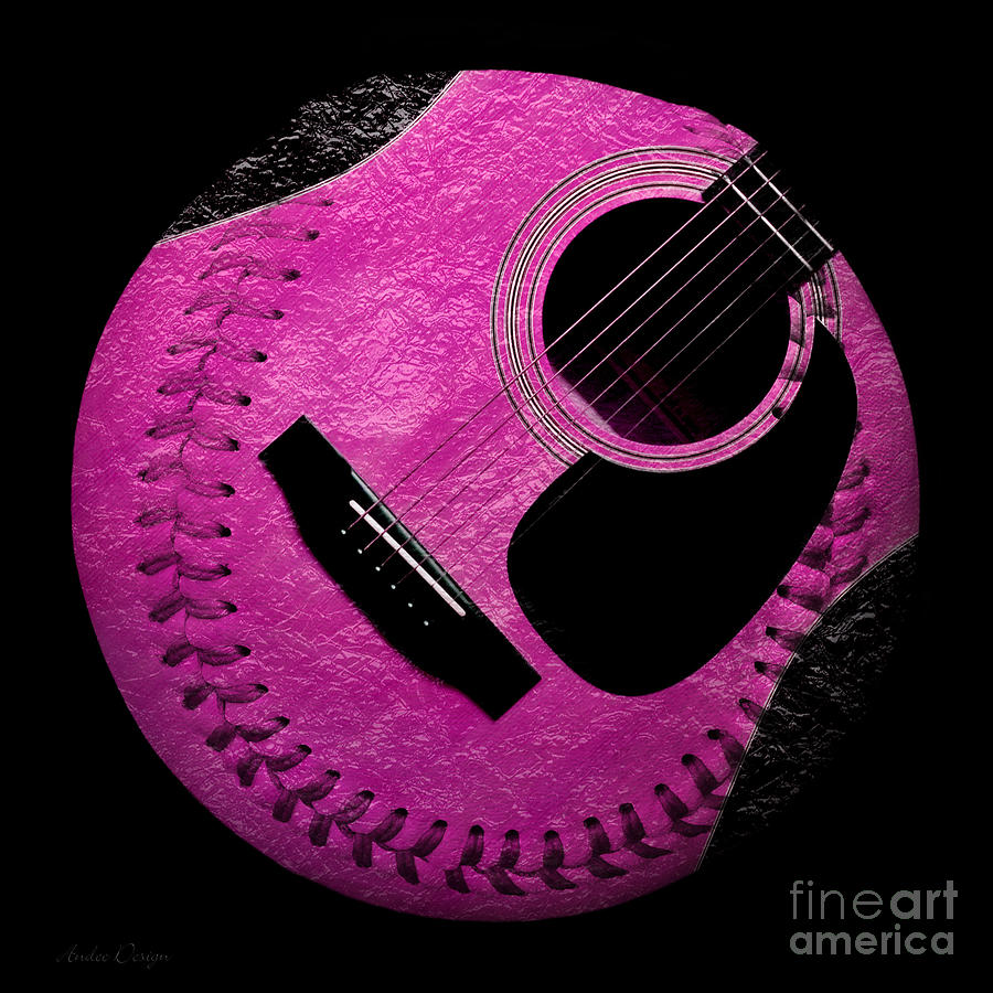 Baseball Digital Art - Guitar Raspberry Baseball by Andee Design