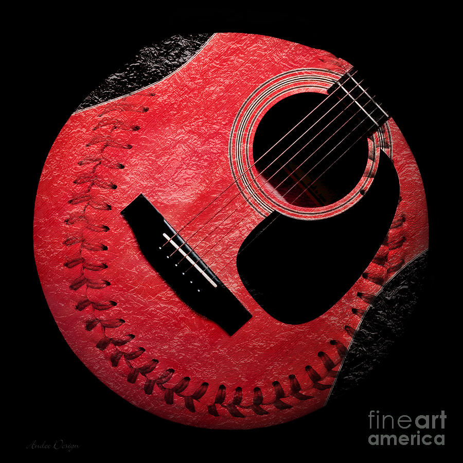 Baseball Digital Art - Guitar Strawberry Baseball by Andee Design