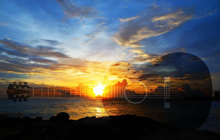 Guitars Painting - Guitar Sunset - Guitars by Sharon Cummings by Sharon Cummings