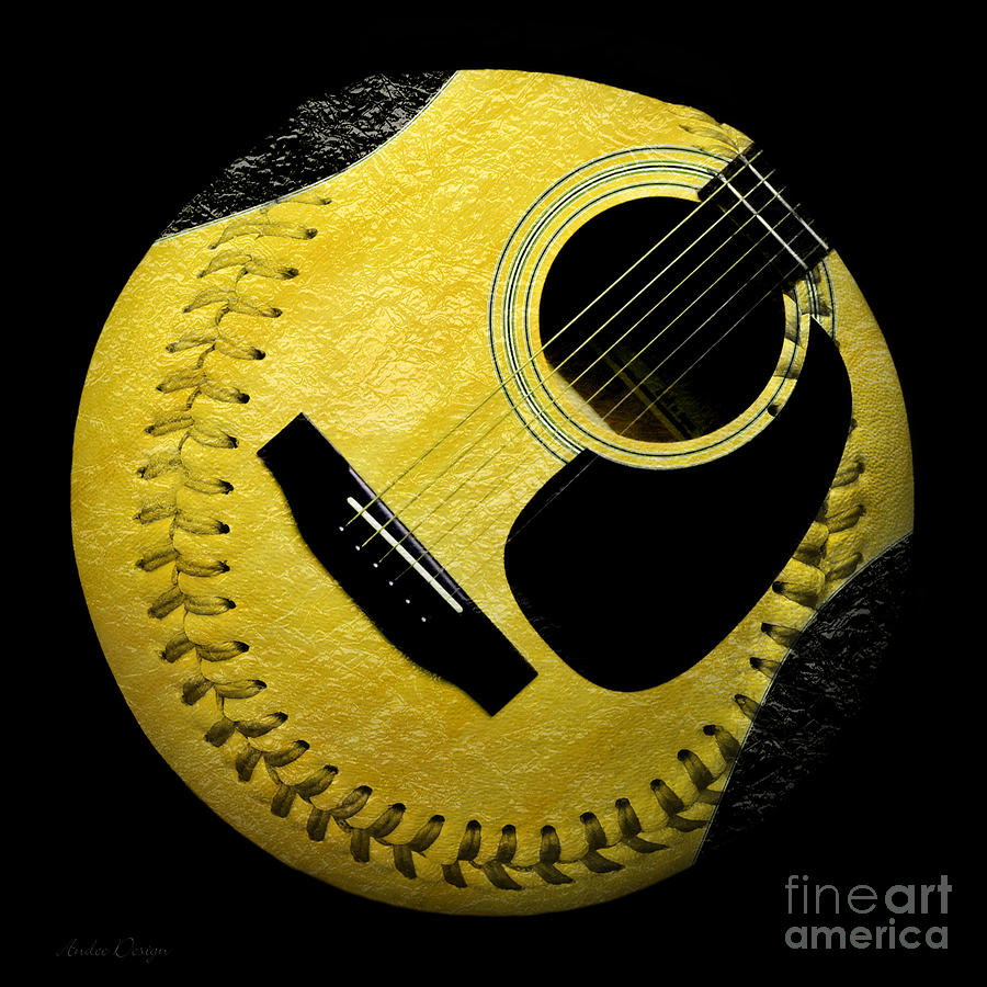 Guitar Yellow Baseball Square Digital Art by Andee Design