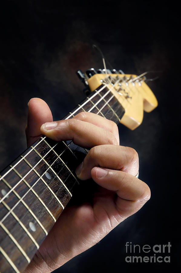 Hand Photograph - Guitarist Playing Guitar by William Voon