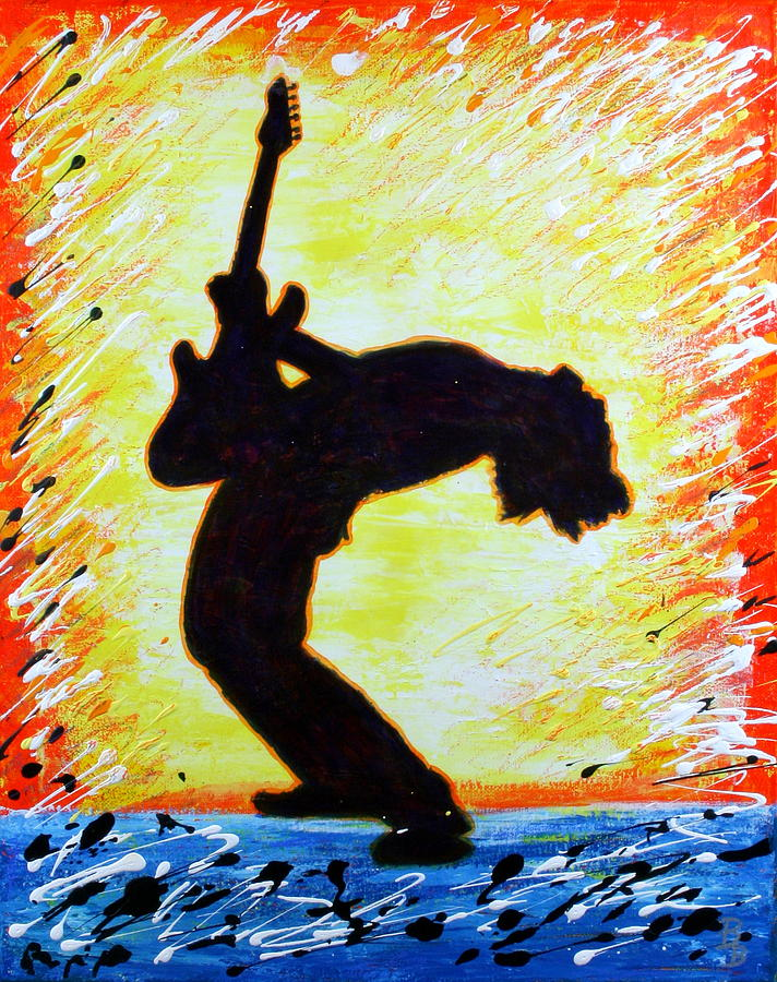 Guitar Painting - Guitarist Rockin Out Silhouette by Bob Baker