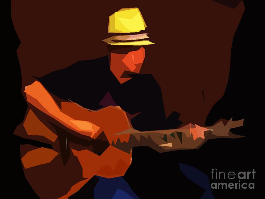 Guitare Digital Art - Guitarist by Soumya Bouchachi