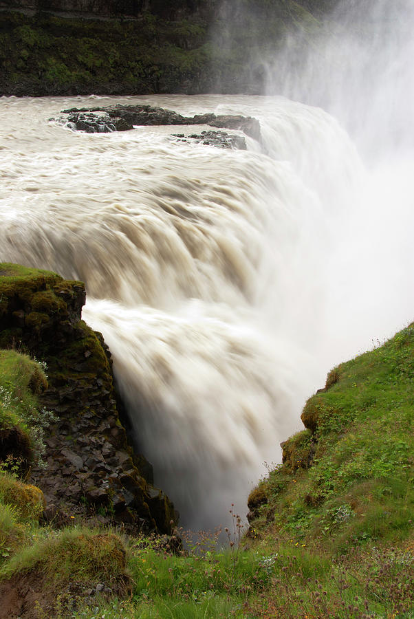 Scenic Photograph - Gullfoss Golden Waterfall On River by Martin Moos