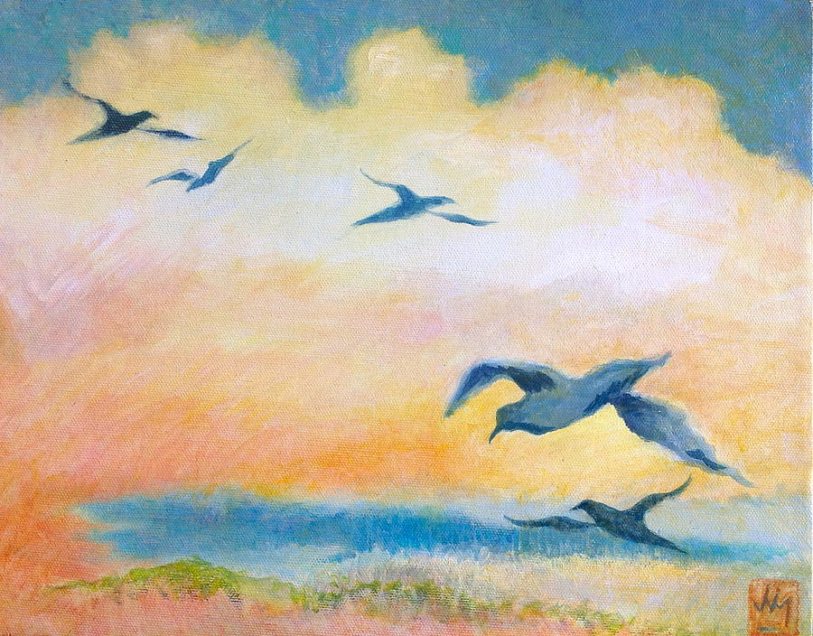 Gulls Painting - Gulls At Sunset by Julia Miller