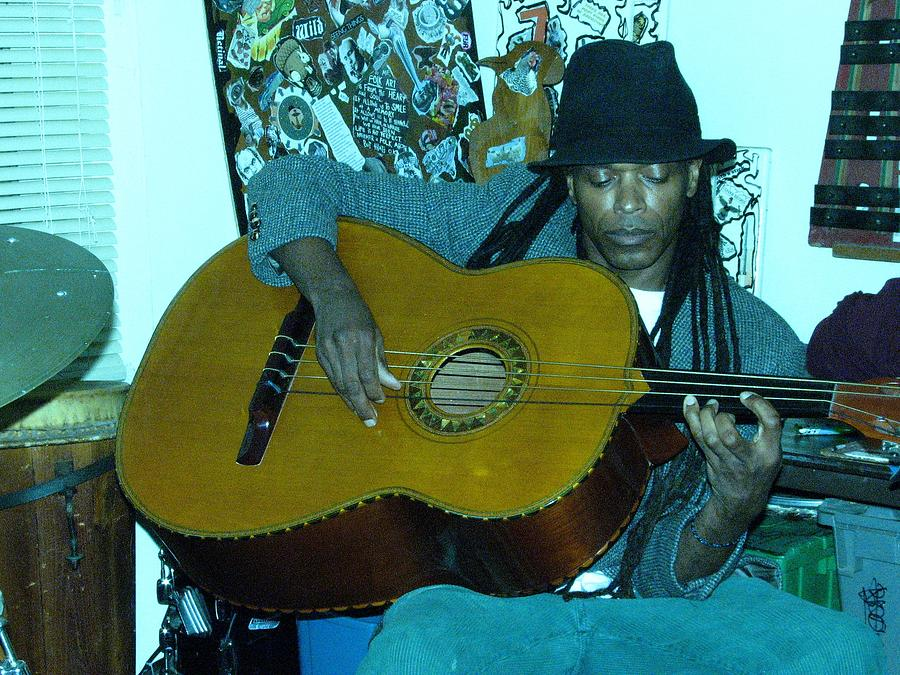 Rehearsal Photograph - Gully Guitar And Black Hat  by Cleaster Cotton