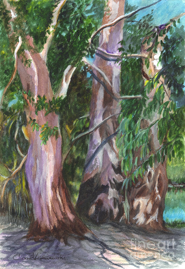 Watercolor Painting - Gum Trees In Oz by Carol Wisniewski
