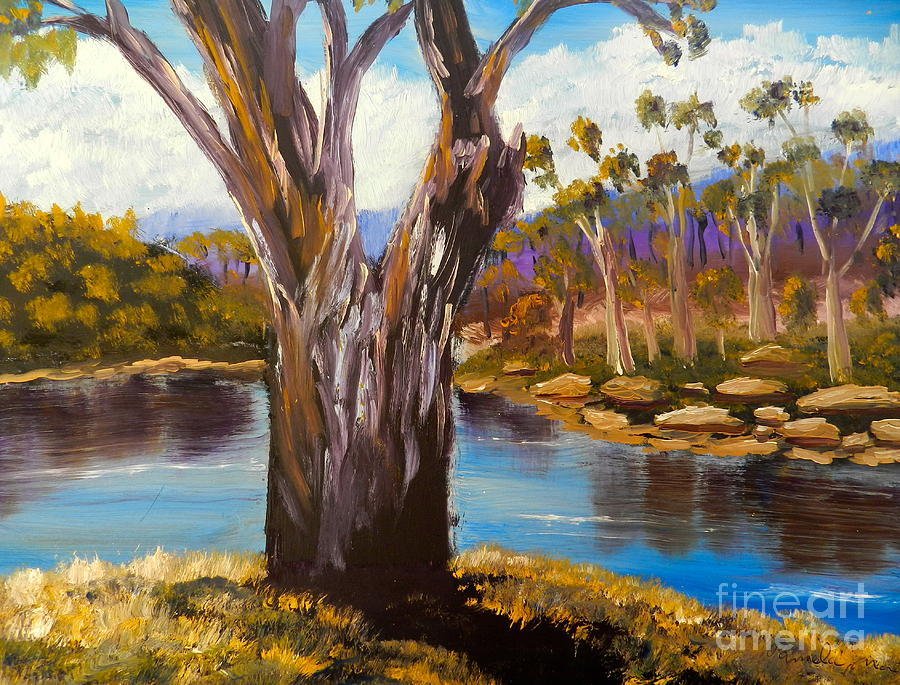 Impressionism Painting - Gum Trees Of The Snowy River by Pamela  Meredith