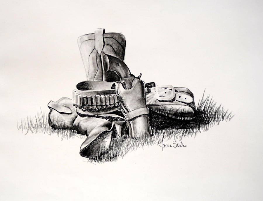 Boots Drawing - Gun And Holster by James Skiles