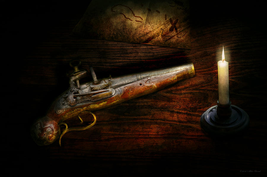 Police Photograph - Gun - Pistol - Romance Of Pirateering by Mike Savad