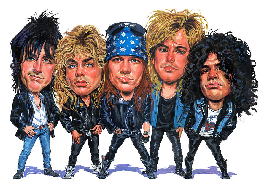 Guns And Roses Painting - Guns N Roses by Art