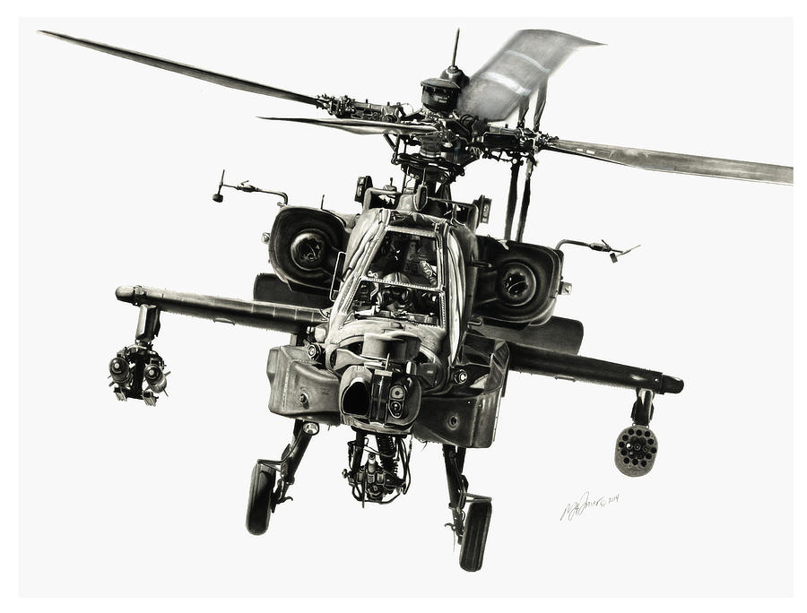 Apache Helicopter Drawing - Gunship by Murray Jones