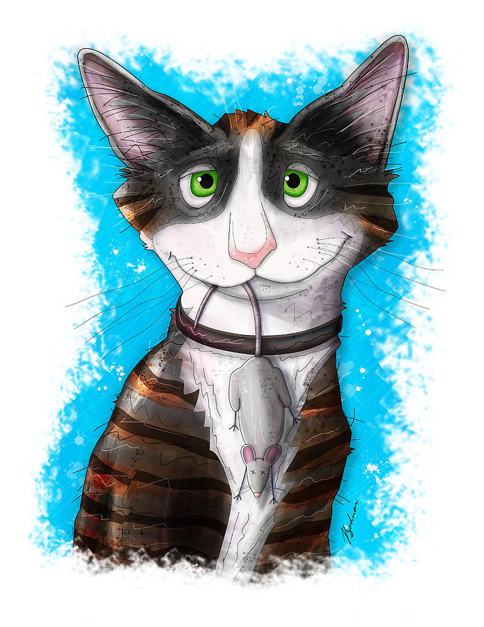 Cartoon Cat Digital Art - Gus by Gary Bodnar