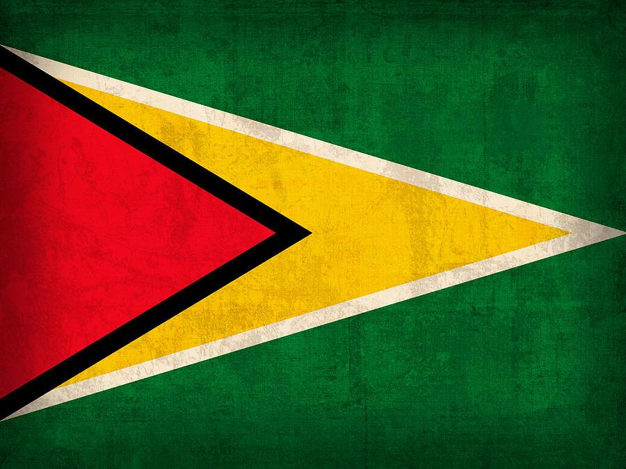 Guyana Mixed Media - Guyana Flag Vintage Distressed Finish by Design Turnpike