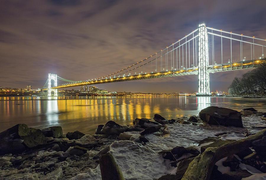 Gw Bridge Lit Towers Photograph by Michael Orso