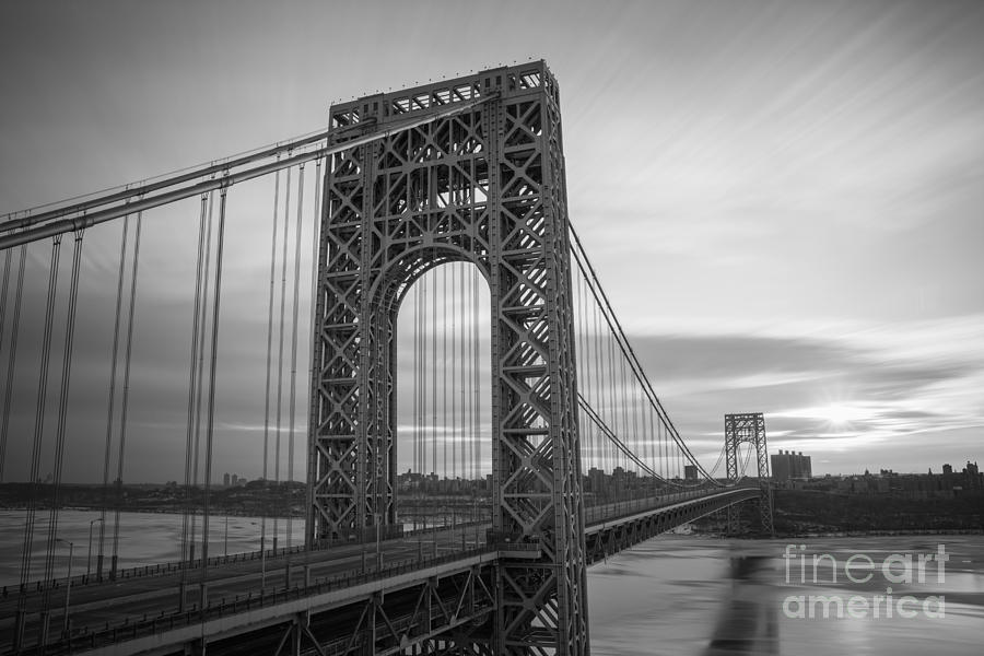 George Washington Photograph - Gw Bridge Winter Sunrise by Michael Ver Sprill
