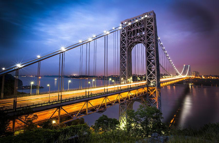 George Washington Bridge Photograph - Gwb At Night by Chris Halford